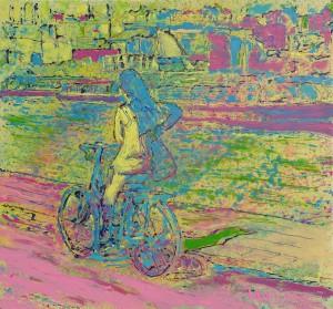 DSC09380  Meisje op fiets, Rokin 8080 sm