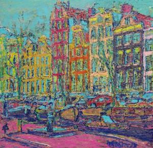 Amsterdam gracht met boten